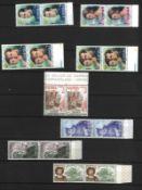 Spanien, postfrische Marken 1976-1985, meist in Paaren. Im Einsteckbuch.Spain, mint stamps 1976-198