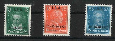 deutsches Reich 1927, Mi Nr. 407 - 409. postfrischGerman Reich 1927, Mi No. 407 - 409. Mint never h