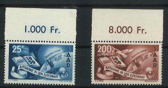 Saarland 1950, Mi Nr. 297 +298, mit Oberrand, postfrischSaarland 1950, Mi No. 297 +298, with upper