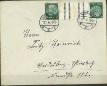 Deutsches Reich 1935, Mi Nr. kz18, gestempelt auf BriefGerman Reich 1935, Mi No. kz18, stamped on c