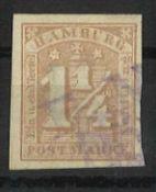 Hamburg 1864, Mi Nr. 8a, gestempelt, breitrandiges StückHamburg 1864, Mi No. 8a, stamped, piece wi