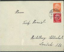 Deutsches Reich 1934, Zusammendruck, Mi Nr. S 112, auf Brief, gestempeltGerman Reich 1934, syntacti