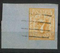 Hamburg 1859, ; Mi Nr. 6, gestempelt auf BriefstückHamburg 1864, Mi No. 8a, stamped, piece with wi