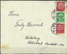 Deutsches Reich 1934, Mi Nr. S 109, Zusammendruck, auf Brief, gestempeltGerman Reich 1934, Mi No. S
