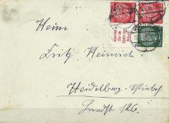 Deutsches Reich 1935, Zusammendruck, Mi Nr. A5 / S 123, auf Brief, gestempeltGerman Reich 1935, syn