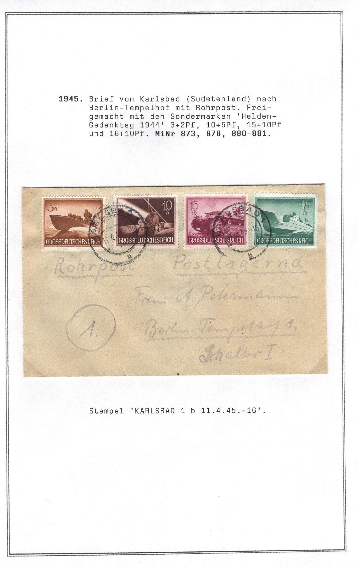 Deutsches Reich 1945, Rohrpostbrief, postlagernd mit Mi. - Nr. 873, 878, 880/01, gelaufen vom