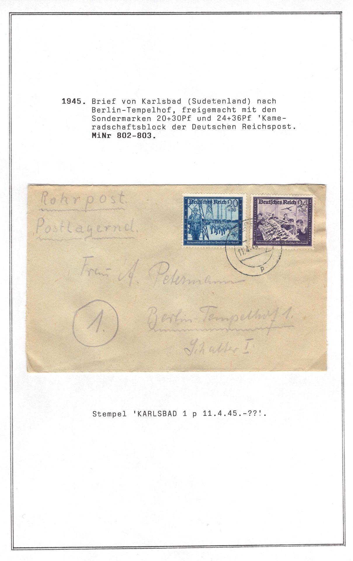 Deutsches Reich 1945, Rohrpostbrief, postlagernd mit Mi. - Nr. 802/03, gelaufen vom Sudetenland nach