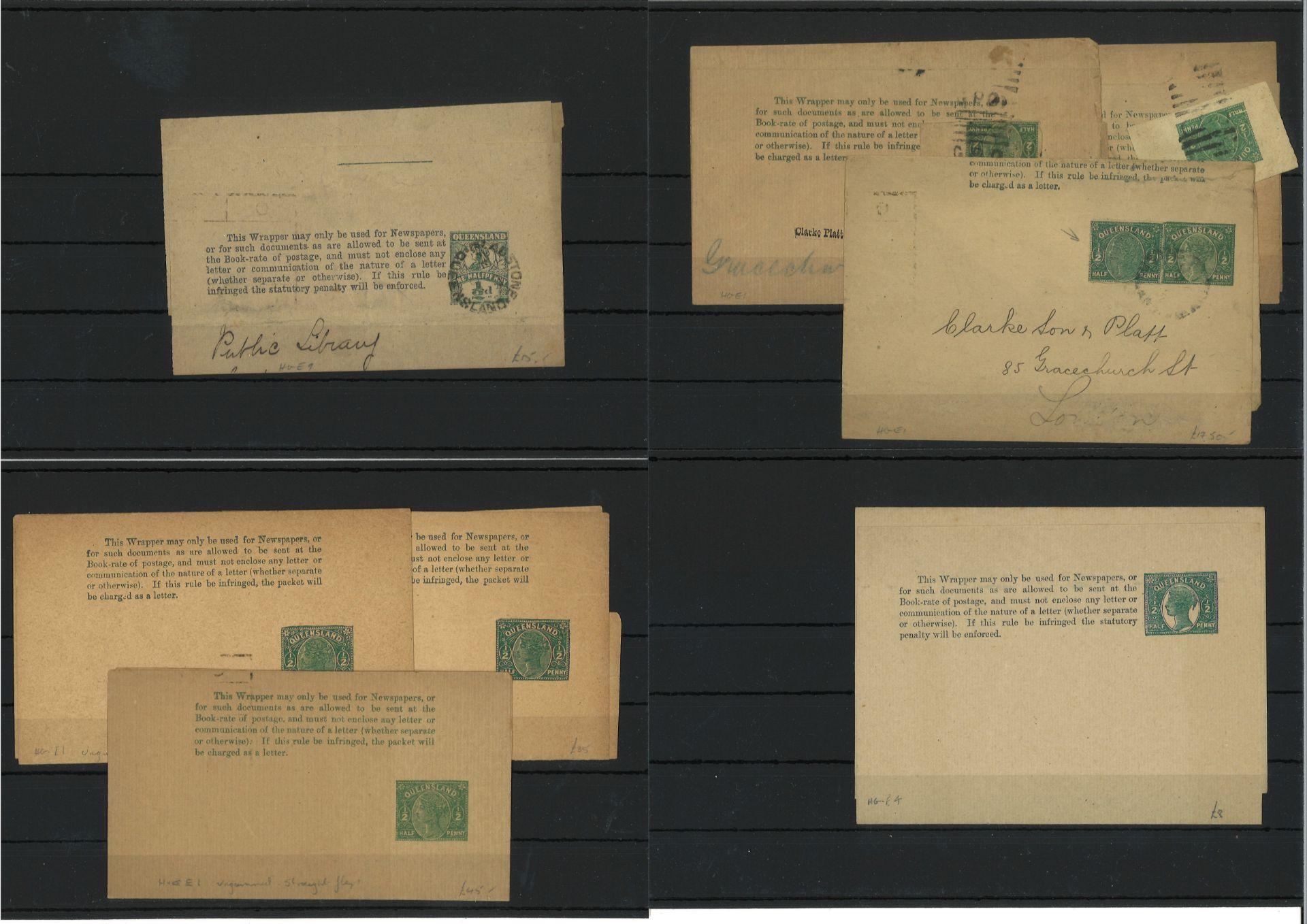 Queensland, 1890-1900, duplizierte Partie mit ca. 35 Deckblättern 1/2d grün oder 1d rot postfrisch