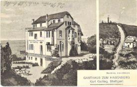 """Postkarte """"Gasthaus zum Hasenberg, Karl Gailing, Stuttgart"""", gelaufen 1916"""