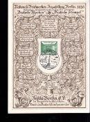 Deutsches Reich 1940, Gedenkblatt zur nationalen Briefmarkenausstellung Berlin 1940, mit Mi. - Nr.