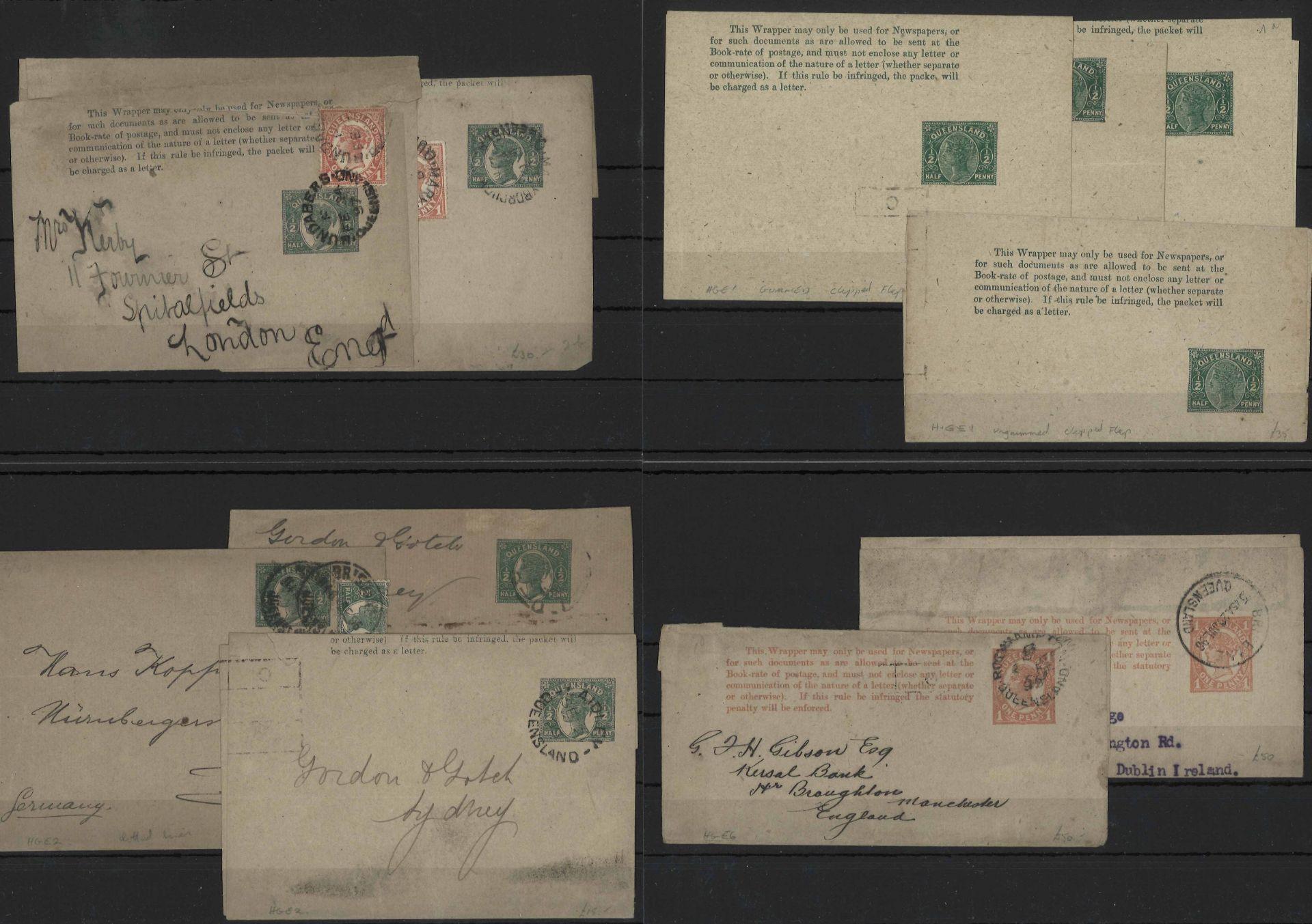 Queensland, 1890-1900, duplizierte Partie mit ca. 35 Deckblättern 1/2d grün oder 1d rot postfrisch - Image 2 of 2