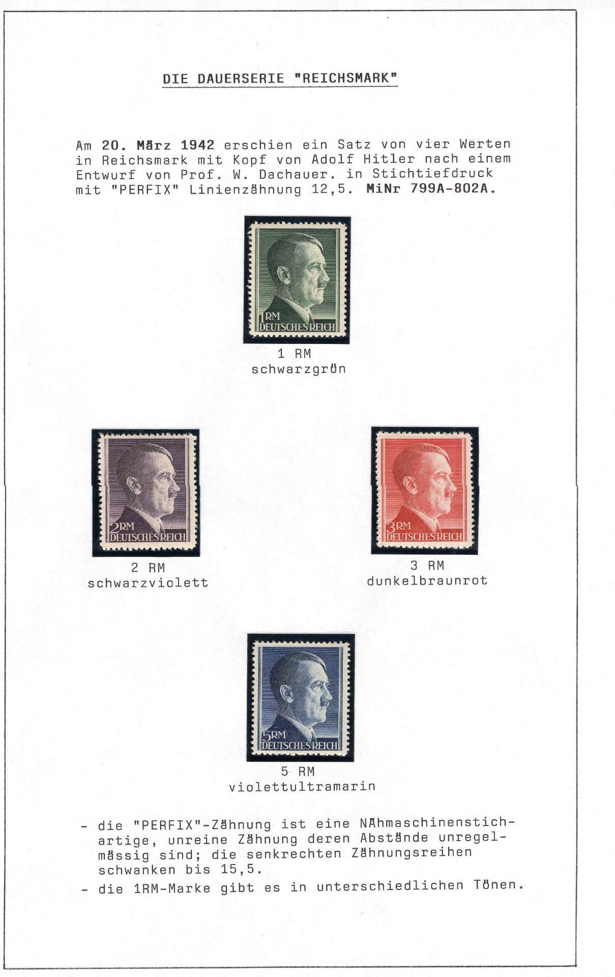 Deutsches Reich 1942/44, Mi. - Nr. 799A/802A und 79B/802B, Freimarken Adolf Hitler. In tadelloser