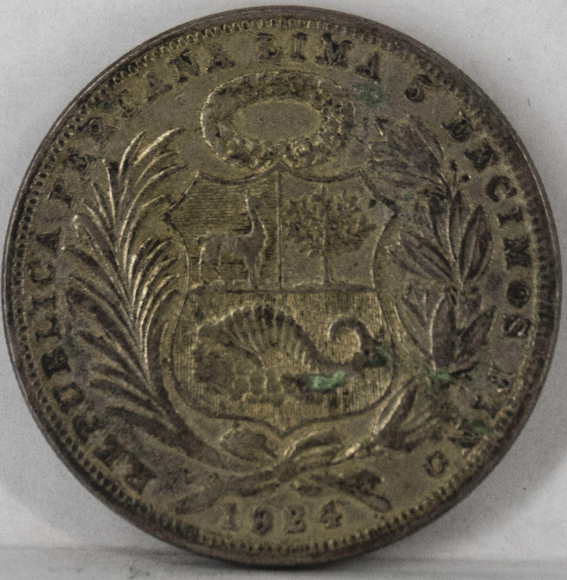 Peru 1924, 1 Sol - Silbermünze, Erhaltung: s. - Image 2 of 2