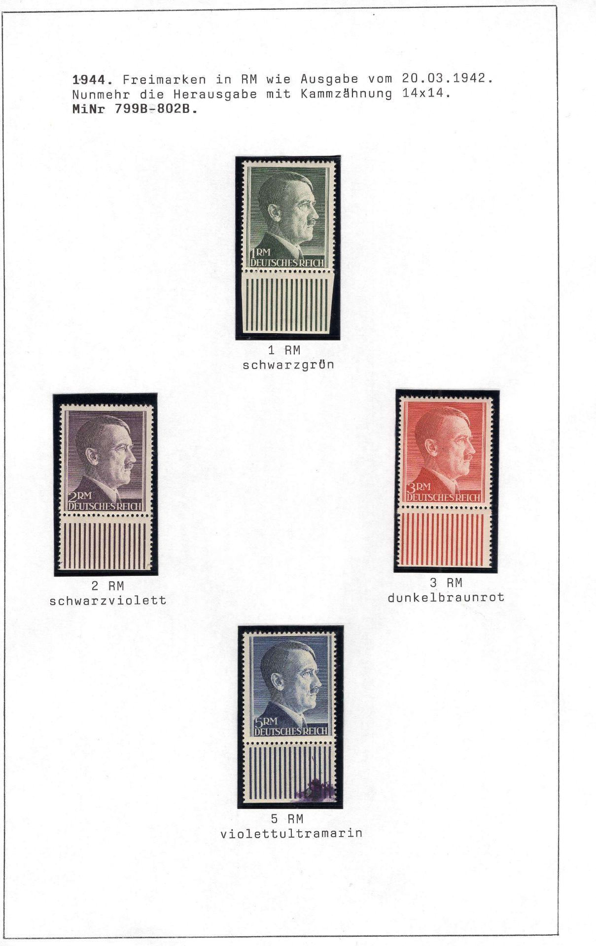 Deutsches Reich 1942/44, Mi. - Nr. 799A/802A und 79B/802B, Freimarken Adolf Hitler. In tadelloser - Image 3 of 4