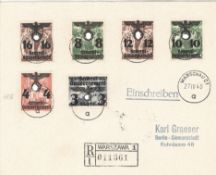 Generalgouvernement, R - Brief ab Warzawa 1 mit MiF Mi. - Nr. 18 III, 20, 21, 29. 3 I, 34.