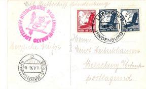 Zeppelin Olympiafahrt Bordpost mit Flugpostmarken frankiert. Sieger 427.