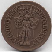 Meissen Porzellan - Medaille ältestes Siegel der Stadt Meissen. Durchmesser: ca. 64 mm. Erhaltung: