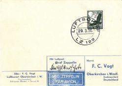 Zeppelinkarte, Bordpost der Deutschlandfahrt mit EF Flugpostmarke 50 Pfennig. Sieger 402 B