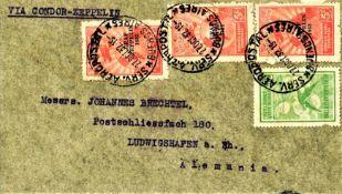 Zeppelinbrief, 9. Südamerikafahrt 1932, argentinische Post, mit Flug- und Zeppelinmarken