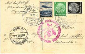 """Olympiafahrt Karte mit u.a. MiF 50 Pfg Zeppelin, Flugstempel """"g"""". Mit sehr seltenen"""