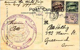 Zeppelinkarte Weltrundfahrt, amerikanische Post mit u.a. 1 Dollar, Sieger 28 D.