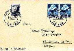 """Zeppelinbrief """"1. Postfahrt des LZ 129 """"Hindenburg"""" mit schöner und guter Frankatur und"""
