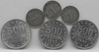 Deutsches Reich / DDR, Lot Münzen, dabei 3 x 1948 1 Pfennig und 3 x 1913 500 Mark.