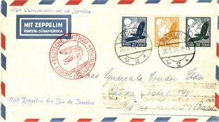 Zeppelinbrief 1. Südamerikafahrt ab Berlin (Anschluss - Flug), frankiert mit Flugpostmarken.
