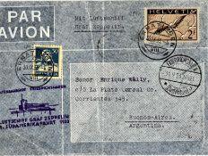 """Zeppelinbrief """"8.Südamerikafahrt 1933"""" Zuleitungspost von der Schweiz mit Flugpostmarke Michel Nr."""