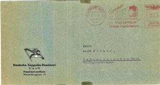 """Brief von der Deutschen Zeppelin Reederei mit Maschinen - Werbestempel """"Kommt zur"""