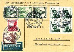 Postkarte 1. Nordamerika - Fahrt 1936, Bordpost mit guter Frankatur. Sieger 407 A.