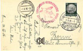 "Olympiafahrt Karte mit EF ""Hindenburg"" 50 Pfennig, Flugstempel ""d"" Ank. St. ""a"". Sieger 427 B"