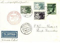 Karte 8. Südamerikafahrt, Zuleitungspost von Österreich, frankiert mit Flugpostmarken. Sieger 274.