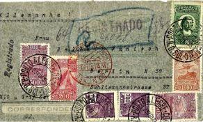 Zeppelinbrief, 5. Südamerikafahrt 1932, brasilianische Post, mit Flugmarken frankiert. Sieger 227