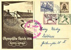 "Olympiafahrt GA 6 Pfg. mit MiF 6, 15, 25 Pfg. Olympiamarken, Flugstempel ""h"" Ank. St. ""c"". Sieger"