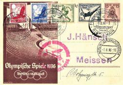 "Olympiafahrt GA 15 Pfg. mit MiF 4, 6 Pfg. Olympia- und Flugpostmarken, Flugstempel ""d"" Ank. St. ""a""."