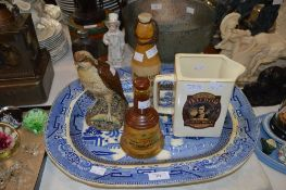 BLUE PRINTED ASHET, VINTAGE STONEWARE HOME BREW GINGER BEER BOTTLE JOHN CAMPBELL PERTH, BESWICK