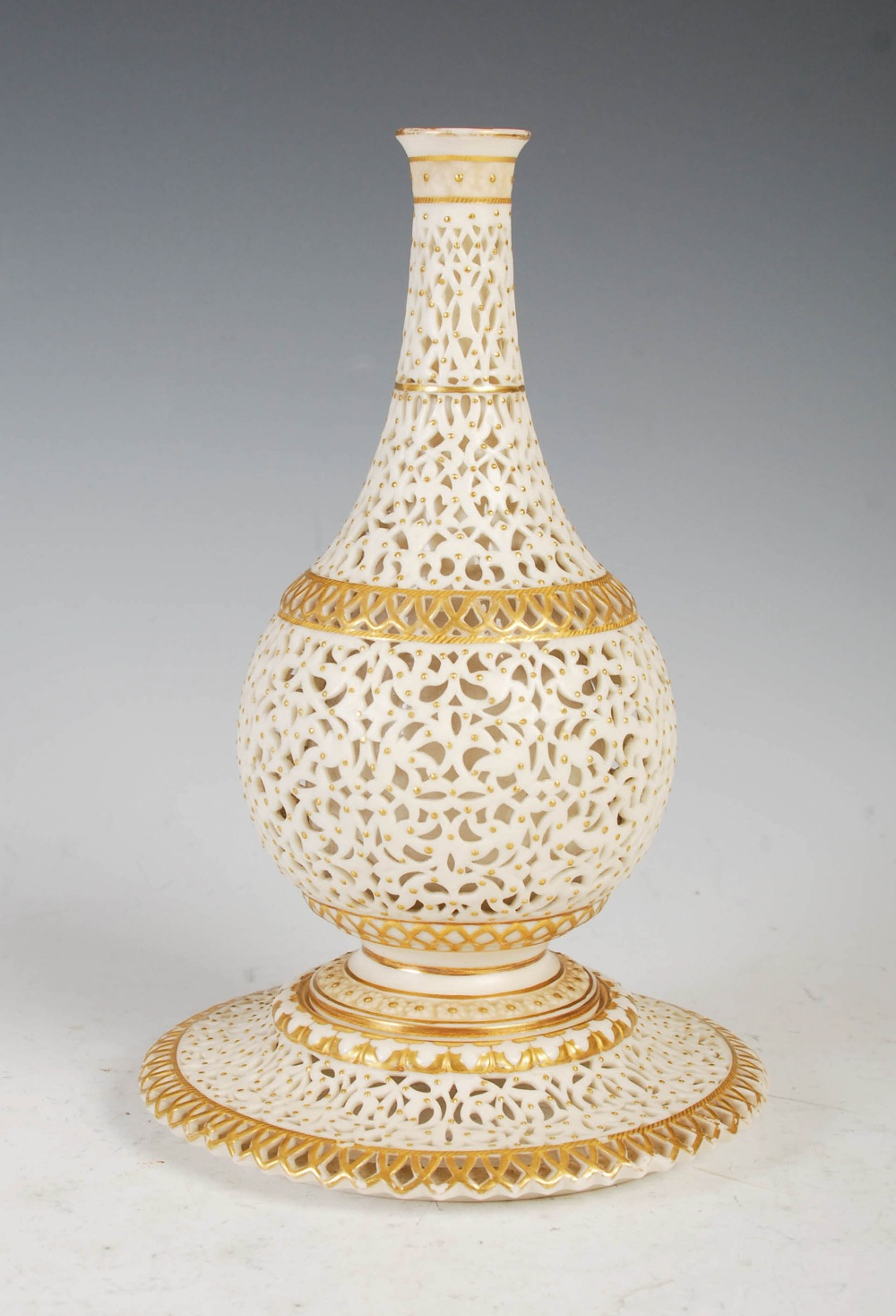 A Grainger & Co. Royal Worcester reticulated bottle vase, dated 1902, on integral circular stand, - Image 2 of 5
