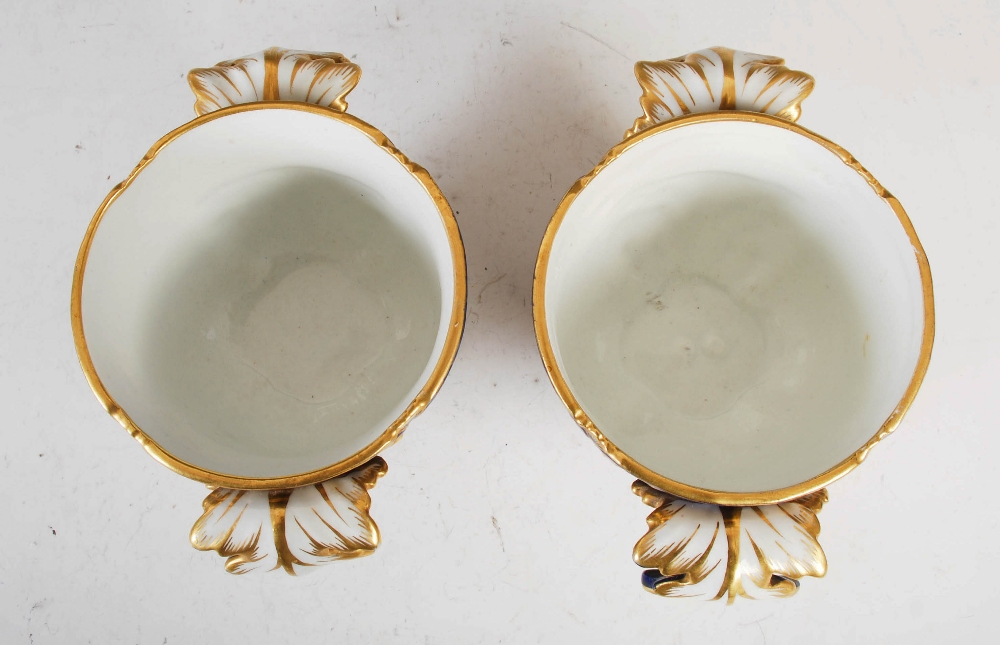 A pair of Sevres porcelain blue ground twin handled jardinieres, decorated with male and female - Image 3 of 7