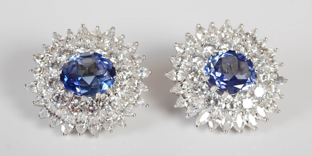 A pair of white metal synthetic sapphire and yttrium aluminium garnet cluster clip earrings, 20th - Image 2 of 7