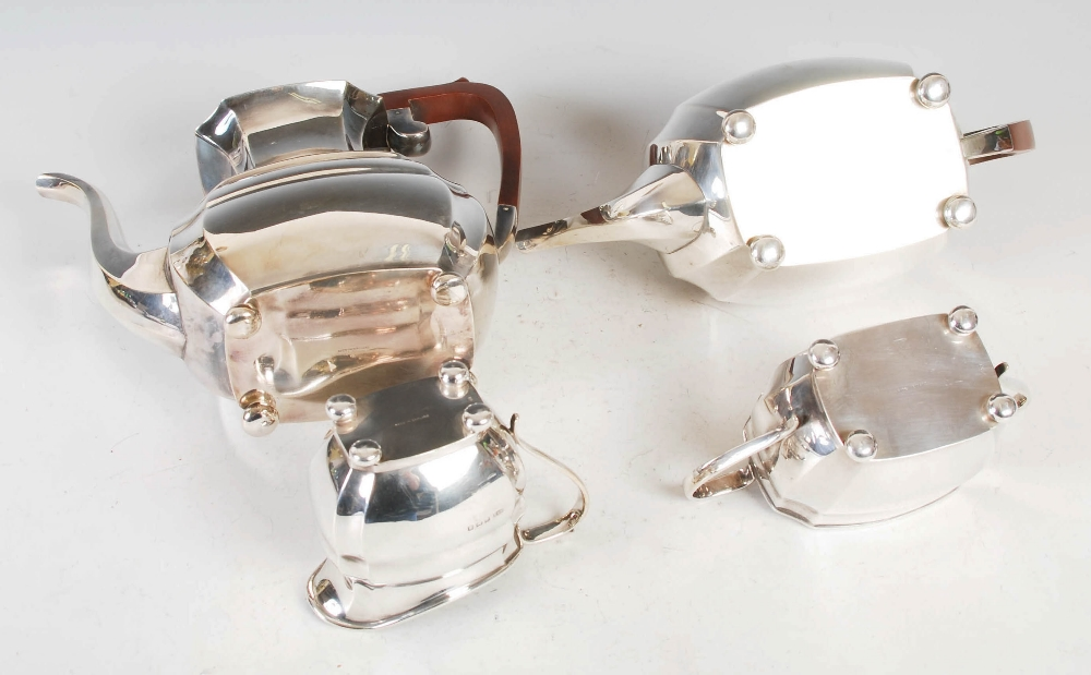 A mid 20th century silver four piece tea and coffee service, Sheffield, 1972, makers mark R&B, - Image 4 of 9