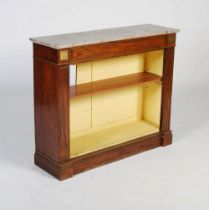 A 19th century rosewood and gilt metal open bookcase with faux marble top, the grey, white and black