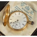 An 18ct gold half hunter pocket watch J.W. BENSON, LONDON, the outer cover with blue enamelled Roman