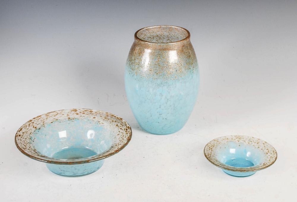 A group of three Monart Royal Wedding Gift coloured wares, comprising; a vase, shape MF, bearing - Image 2 of 7