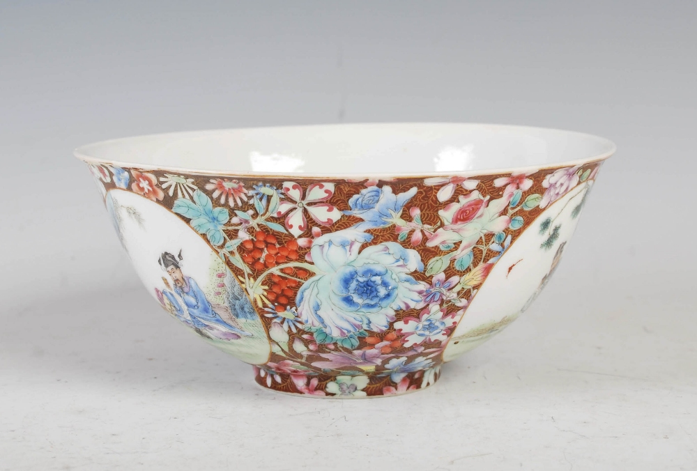 A Chinese porcelain famille rose millefleurs footed bowl, Qing Dynasty, decorated with three - Image 2 of 4