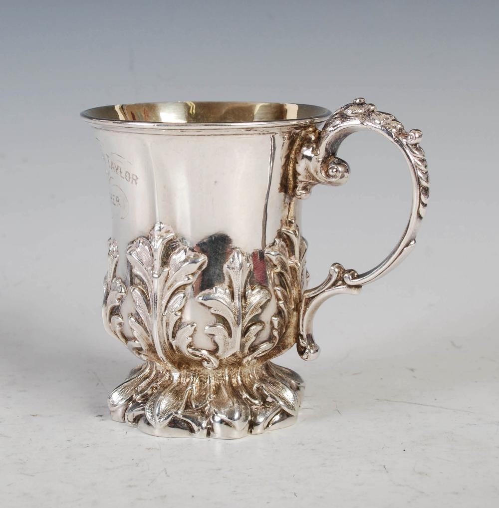 An Edwardian silver gilt Christening mug, Sheffield, 1902, makers mark of Walker & Hall, embossed - Image 2 of 7