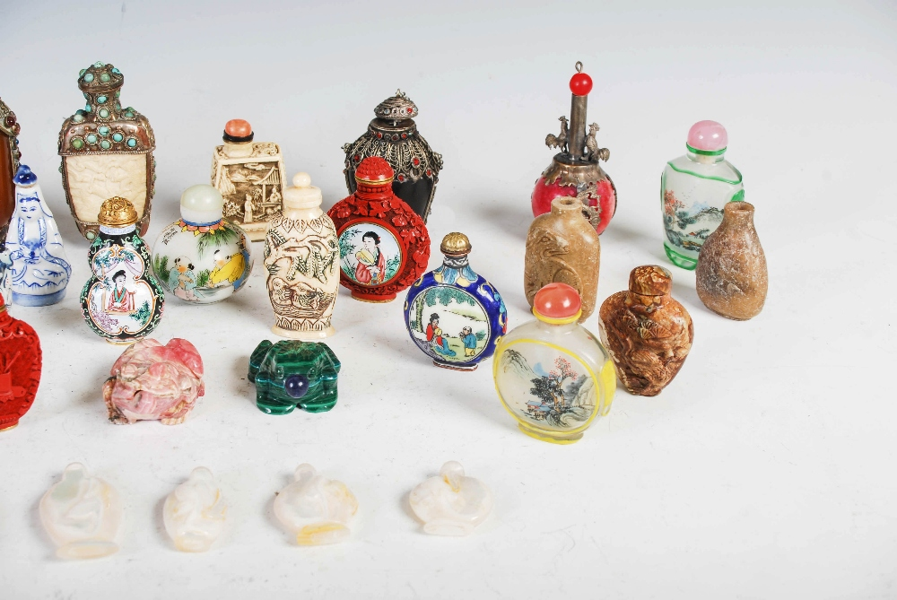 A collection of thirty four assorted Chinese snuff bottles, various mediums, decoration and sizes ( - Image 4 of 4