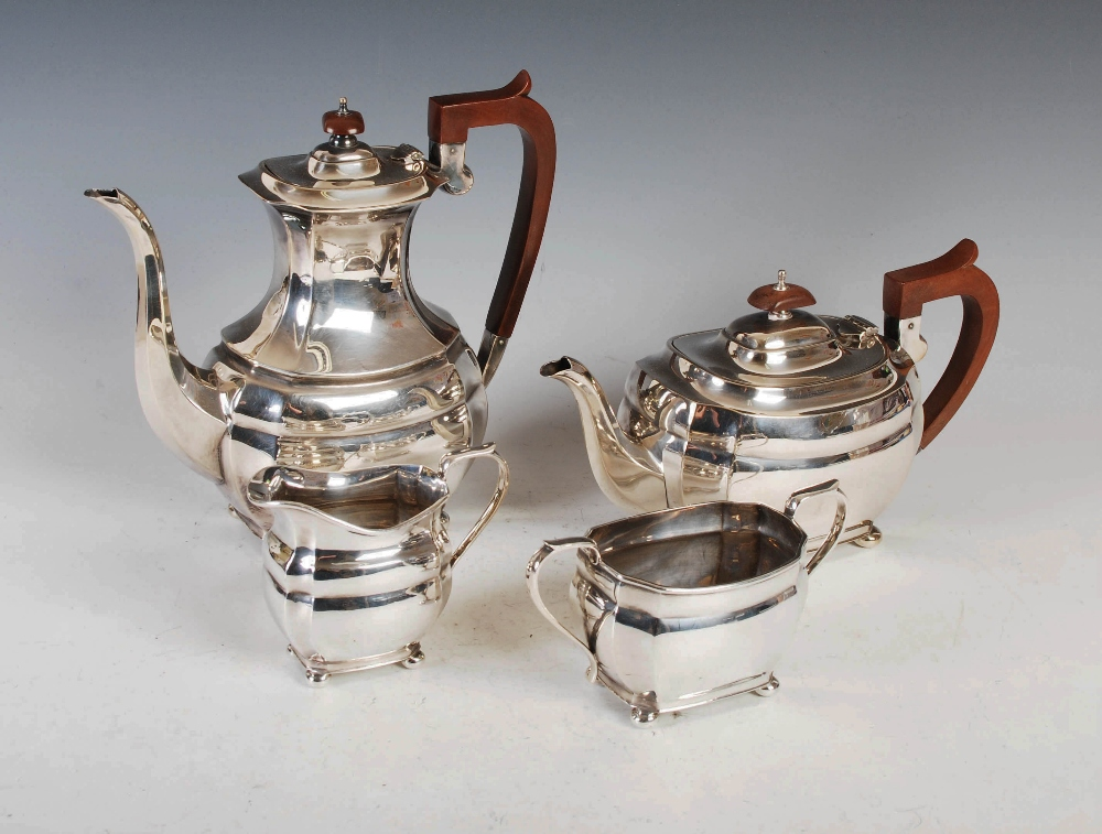 A mid 20th century silver four piece tea and coffee service, Sheffield, 1972, makers mark R&B, - Image 2 of 9
