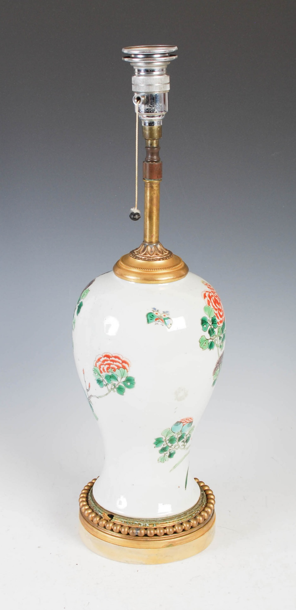 A Chinese porcelain famille verte jar converted to a table lamp, Qing Dynasty and later, the - Image 2 of 4