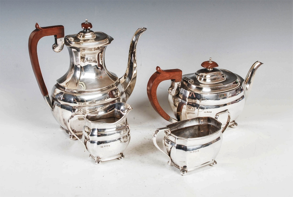 A mid 20th century silver four piece tea and coffee service, Sheffield, 1972, makers mark R&B,